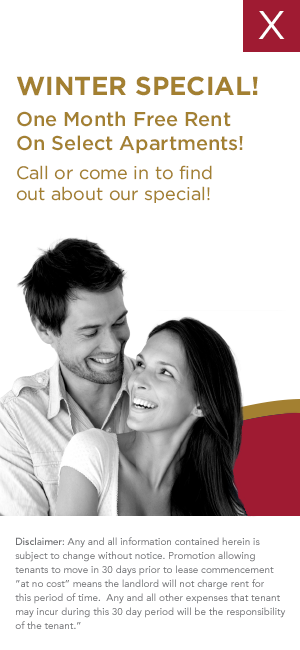 Winter Special! One Month Free Rent on select apartments! Call or come in to find out.